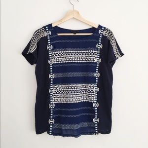 J. Crew embroidered navy blouse